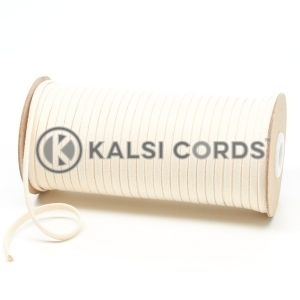 C227 6mm Flat Tubular Cotton Braid Natural Kalsi Cords