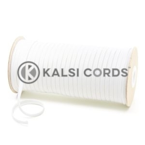 C227 6mm Flat Tubular Cotton Braid White Kalsi Cords