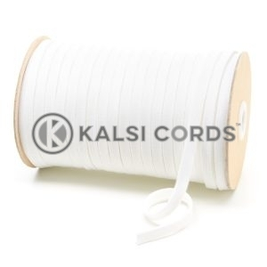 C242 7mm Flat Tubular Cotton Braid White Kalsi Cords