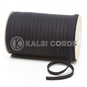 C253 8mm Flat Tubular Cotton Braid Black Kalsi Cords