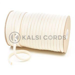 C253 8mm Flat Tubular Cotton Braid Natural Kalsi Cords