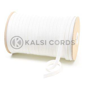 C253 8mm Flat Tubular Cotton Braid White Kalsi Cords