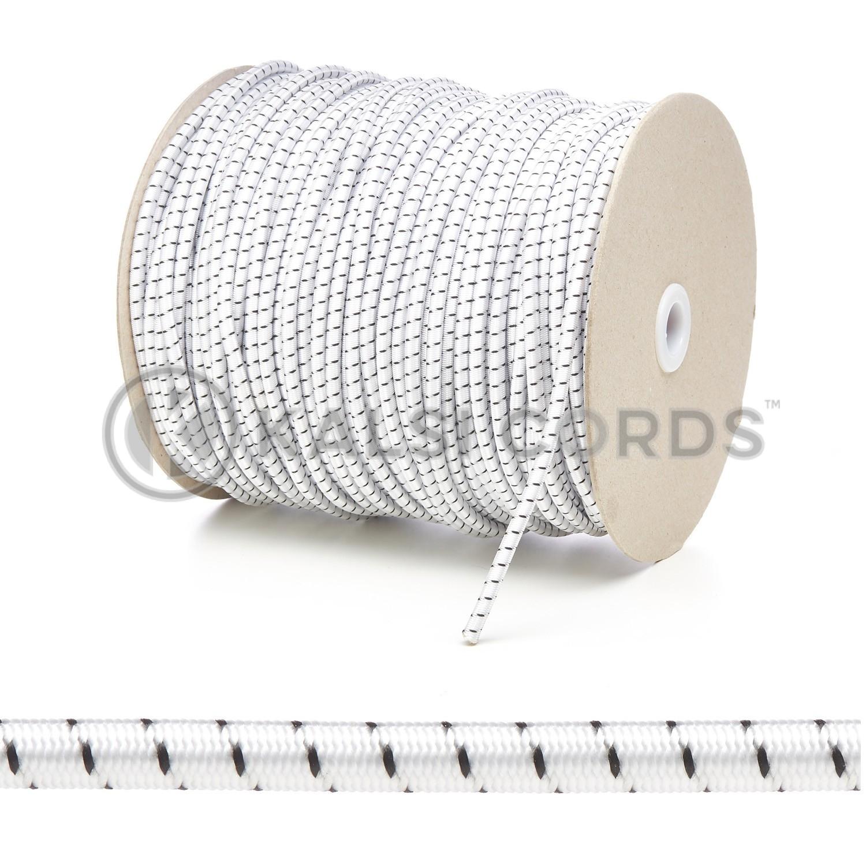 Bungee Shock Cord 5 Metre of 4mm White Black Elastic