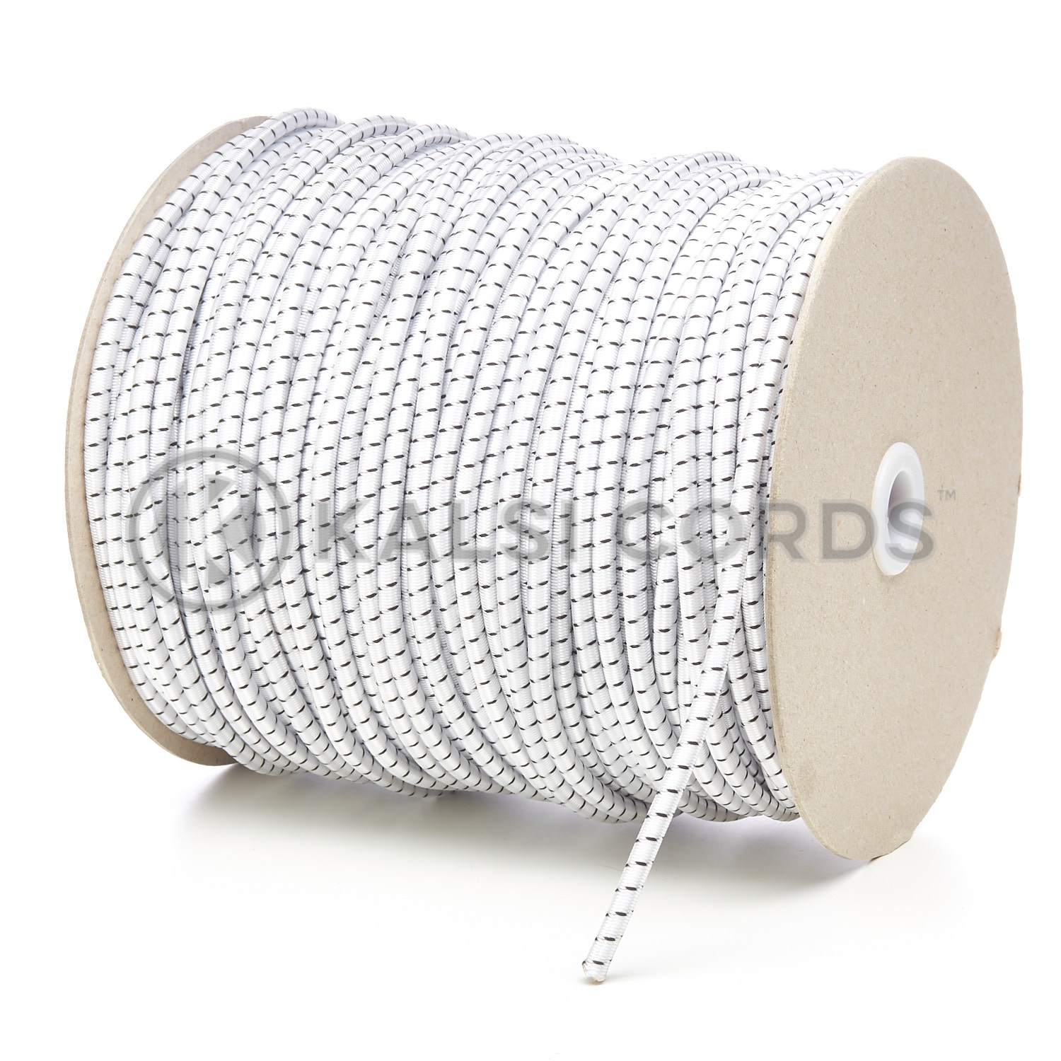 PE114 5mm Round Bungee Shock Cord Natural White with Black Fleck Kalsi Cords