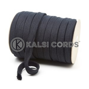 C252 15mm Flat Tubular Cotton Braid Black Kalsi Cords