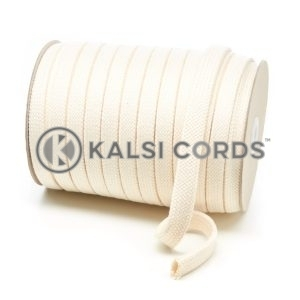 C255 17mm Flat Tubular Cotton Braid Natural Kalsi Cords
