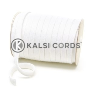 C255 17mm Flat Tubular Cotton Braid White Kalsi Cords