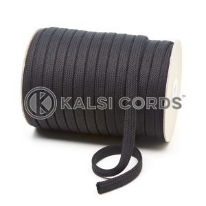 C261 11mm Flat Tubular Cotton Braid Black Kalsi Cords