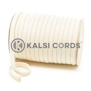C261 11mm Flat Tubular Cotton Braid Natural Kalsi Cords