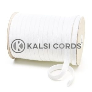 C261 11mm Flat Tubular Cotton Braid White Kalsi Cords