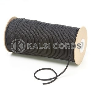T460 2mm Thin Round Polyester Cord Black Kalsi Cords
