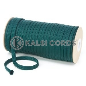 T461 7mm Flat Tubular Polyester Braid Cedar Green Kalsi Cords