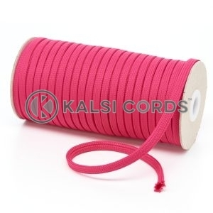 T461 7mm Flat Tubular Polyester Braid Cerise Pink Kalsi Cords