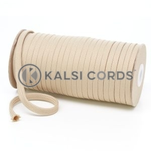 T461 7mm Flat Tubular Polyester Braid Cream Kalsi Cords