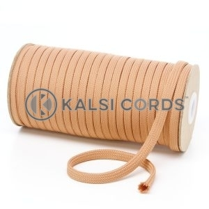 T461 7mm Flat Tubular Polyester Braid Dark Beige Kalsi Cords