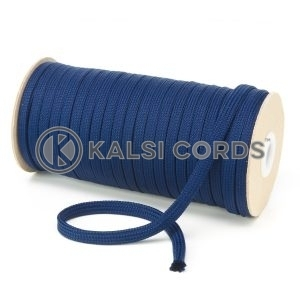 T461 7mm Flat Tubular Polyester Braid Dark Blue Kalsi Cords