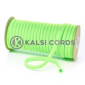 T461 7mm Flat Tubular Polyester Braid Fluorescent Lime Kalsi Cords
