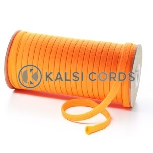 T461 7mm Flat Tubular Polyester Braid Fluorescent Orange Kalsi Cords