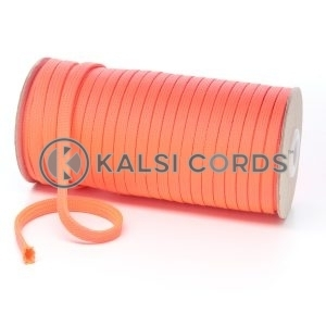 T461 7mm Flat Tubular Polyester Braid Fluorescent Pink Kalsi Cords