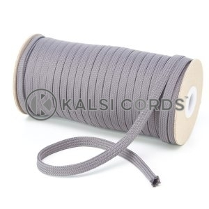 T461 7mm Flat Tubular Polyester Braid Grey Kalsi Cords