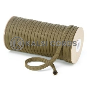 T461 7mm Flat Tubular Polyester Braid Khaki Olive Kalsi Cords