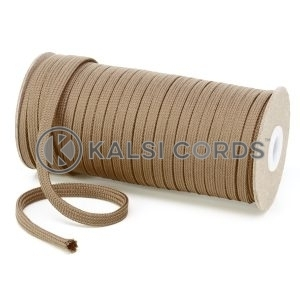 T461 7mm Flat Tubular Polyester Braid Light Fawn Kalsi Cords