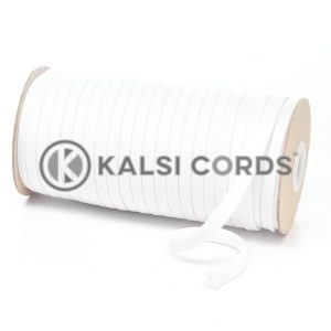T461 7mm Flat Tubular Polyester Braid Optic White Kalsi Cords