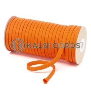 T461 7mm Flat Tubular Polyester Braid Orange Kalsi Cords