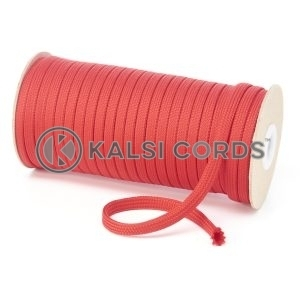 T461 7mm Flat Tubular Polyester Braid Rose Madder Red Kalsi Cords