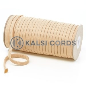 T461 7mm Flat Tubular Polyester Braid Sahara Beige Kalsi Cords