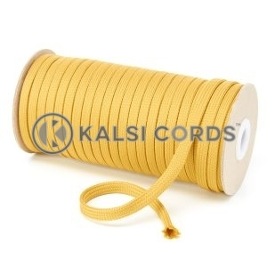 T461 7mm Flat Tubular Polyester Braid Sovereign Gold Kalsi Cords