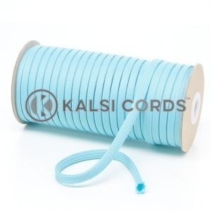 T461 7mm Flat Tubular Polyester Braid Turquoise Kalsi Cords