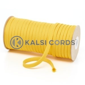 T461 7mm Flat Tubular Polyester Braid Yellow Kalsi Cords