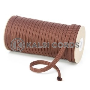 T461 7mm Flat Tubular Polyester Braid York Brown Kalsi Cords