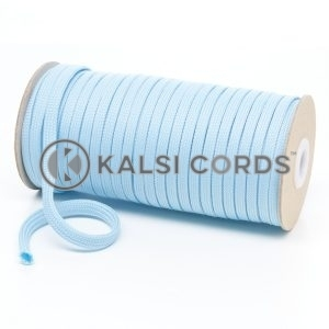 T638 8mm Flat Tubular Polyester Braid Baby Blue Kalsi Cords
