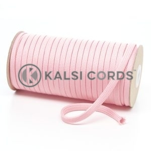 T638 8mm Flat Tubular Polyester Braid Baby Pink Kalsi Cords