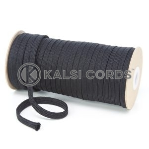 T638 8mm Flat Tubular Polyester Braid Black Kalsi Cords