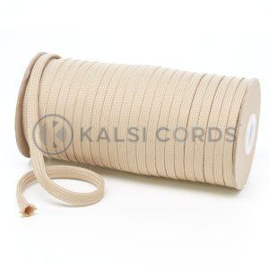 T638 8mm Flat Tubular Polyester Braid Cream Kalsi Cords