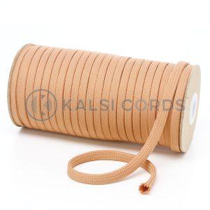T638 8mm Flat Tubular Polyester Braid Dark Beige Kalsi Cords
