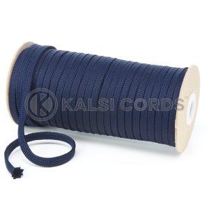 T638 8mm Flat Tubular Polyester Braid Dark Navy Kalsi Cords