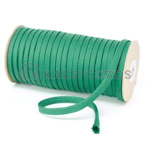T638 8mm Flat Tubular Polyester Braid Emerald Green Kalsi Cords
