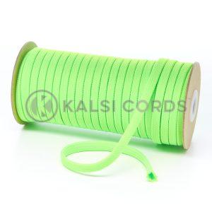 T638 8mm Flat Tubular Polyester Braid Fluorescent Lime Kalsi Cords