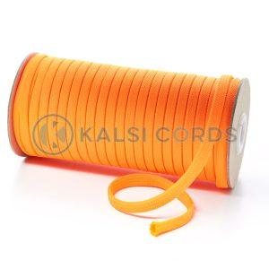 T638 8mm Flat Tubular Polyester Braid Fluorescent Orange Kalsi Cords