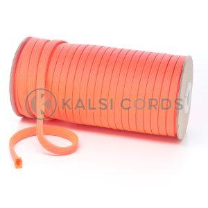 T638 8mm Flat Tubular Polyester Braid Fluorescent Pink Kalsi Cords
