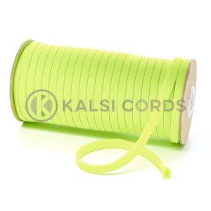 T638 8mm Flat Tubular Polyester Braid Fluorescent Yellow Kalsi Cords