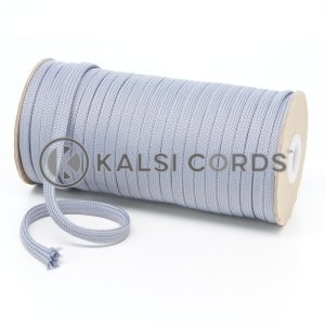 T638 8mm Flat Tubular Polyester Braid Frosted Silver Kalsi Cords