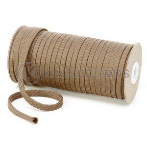 T638 8mm Flat Tubular Polyester Braid Light Fawn Kalsi Cords