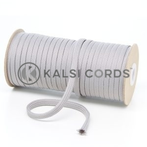 T638 8mm Flat Tubular Polyester Braid Light Grey Kalsi Cords