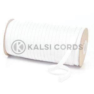 T638 8mm Flat Tubular Polyester Braid Optic White Kalsi Cords