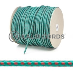 PE114 5mm Round Bungee Shock Cord Emerald Green with Red Blocks Edit 3 Kalsi Cords